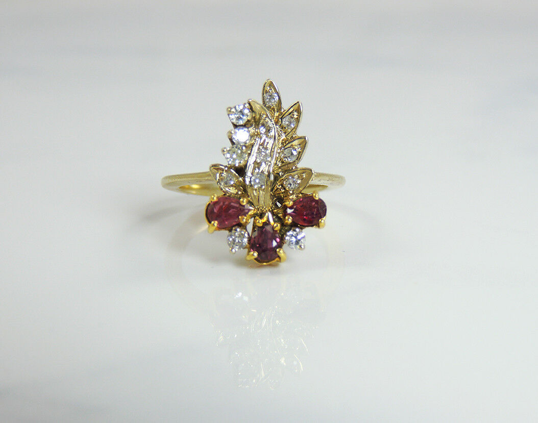 14K Ring Solid Yellow gold Women's sz 6 Natural Rubies Diamonds Precious Stones