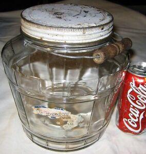 ANTIQUE USA COUNTRY KITCHEN FOOD ART DECO HOOSIER GLASS PICKLE JAR ...