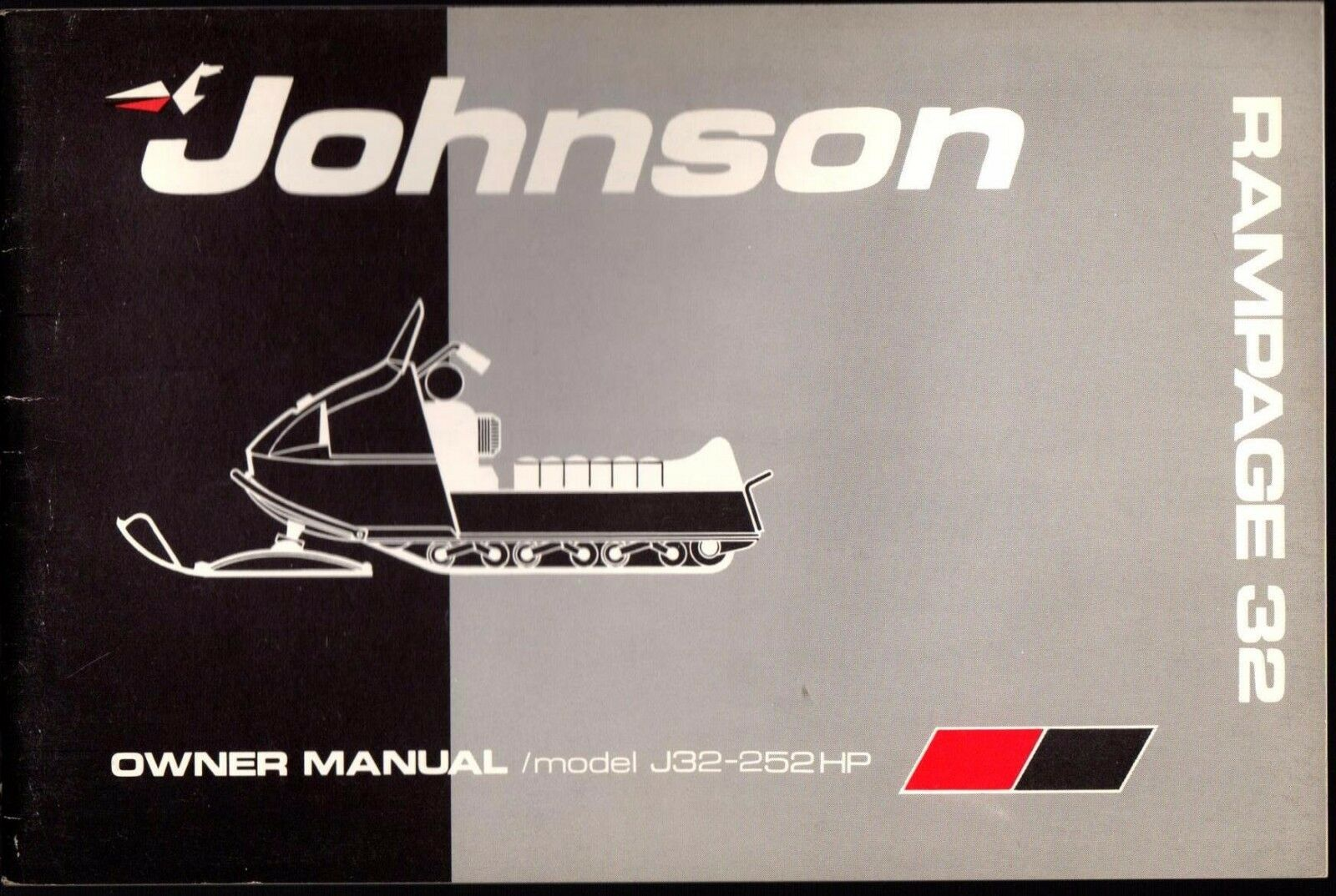 1972 JOHNSON RAMPAGE 32 MODEL J32-252HP SNOWMOBILE OWNERS MANUAL NEW (806)