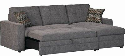 Modern Reversible Tufted Sleeper Sofa Sectional Storage Chaise Charcoal Fabric Ebay