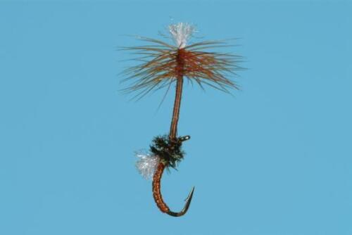 20 ou 22 Pêche à la mouche solitude Fly Company Dandelion Emerger marron taille 18