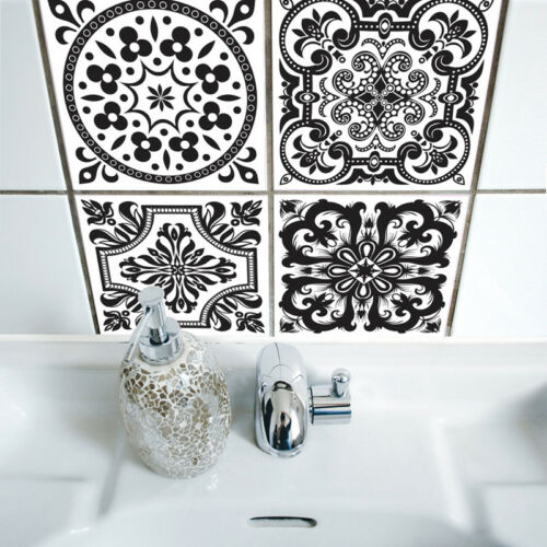10pcs Black White Self-adhesive Bathroom Kitchen Wall Stair Floor Tile Sticker
