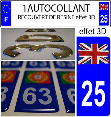 2 stickers plaque immatriculation auto DOMING 3D RESINE FRANCE FLOTANT DEPA 2A