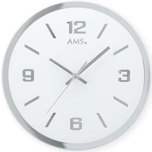 AMS 9322 Wanduhr Quarz analog silbern rund leise ohne Ticken aus Glas