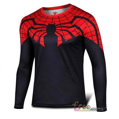 Men's Superhero Long Sleeve T-Shirt Costume Tee Tops Fancy Dress Cycling Jersey