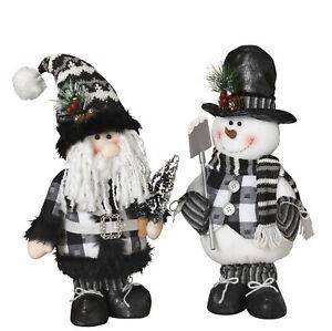 Large-Christmas-Standing-Plush-Santa-Snowman-Dolls-Figurine-Set-Decorations