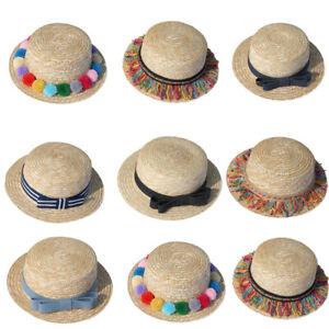 Fashion-Parent-child-Women-Baby-Girls-Beach-Bow-Straw-Flat-Brim-Sun-Hat-Cap