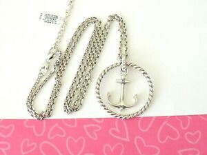 Brighton-BLUE-WATER-Round-Anchor-Disc-Long-Silver-Pendant-Necklace-New-tags-82