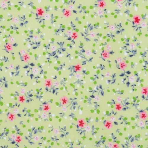 Pink Green White Turquoise Floral Polycotton Shabby Chic Craft Fabric Quilting