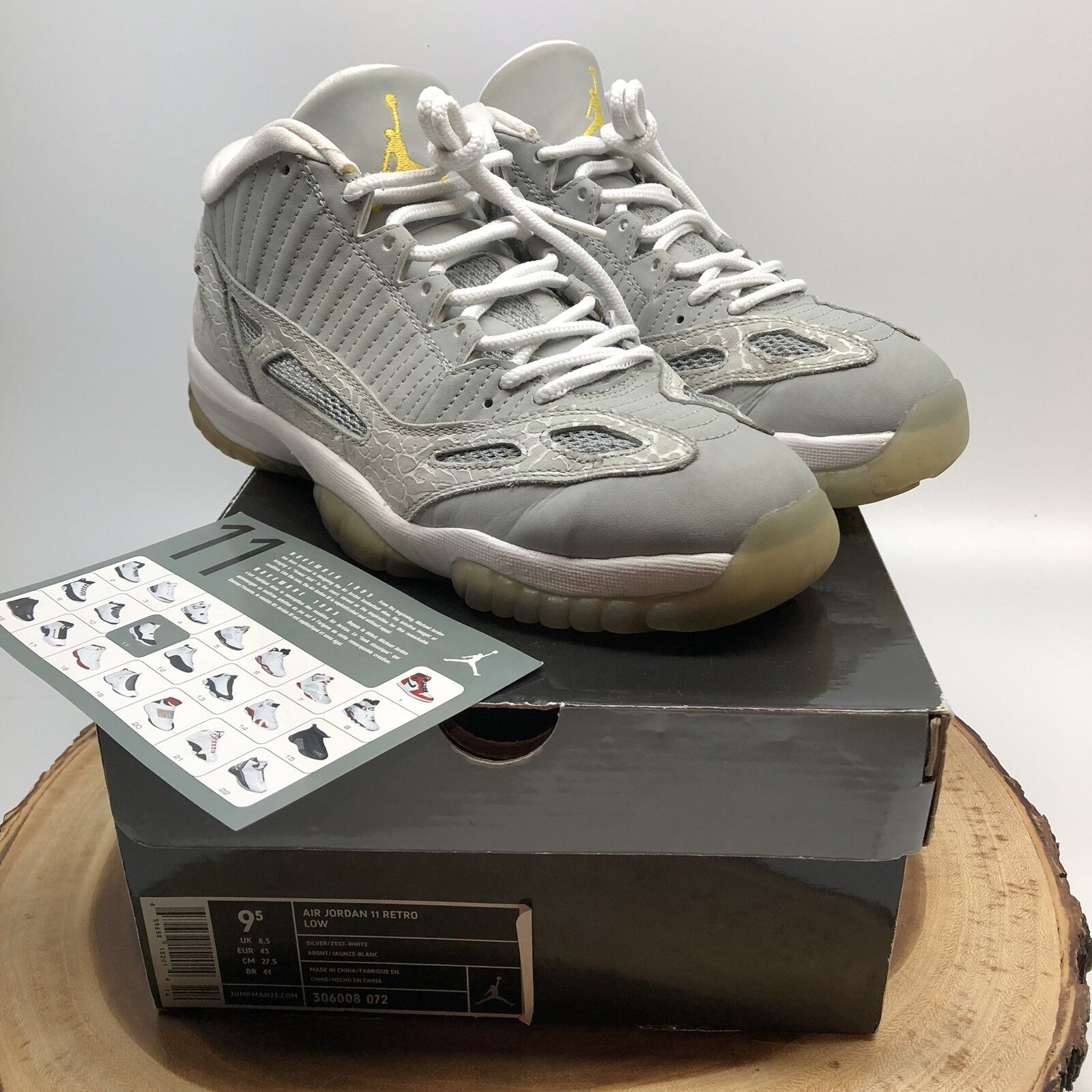 2007 Nike Air Jordan 11 XI Retro Low Silver Zest Sz 9.5 306008-072 Cool Grey IV