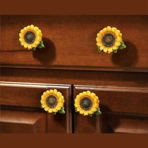 Image Is Loading Kitchen Cabinet Pulls 6pcs Country Sunflower S Cupboards