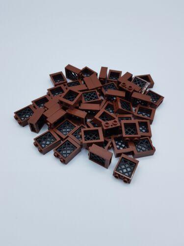 LEGO LOT 50 FENETRES MARRON 1X2X2 AVEC GRILLES REF 60592 38320 *NEUF*