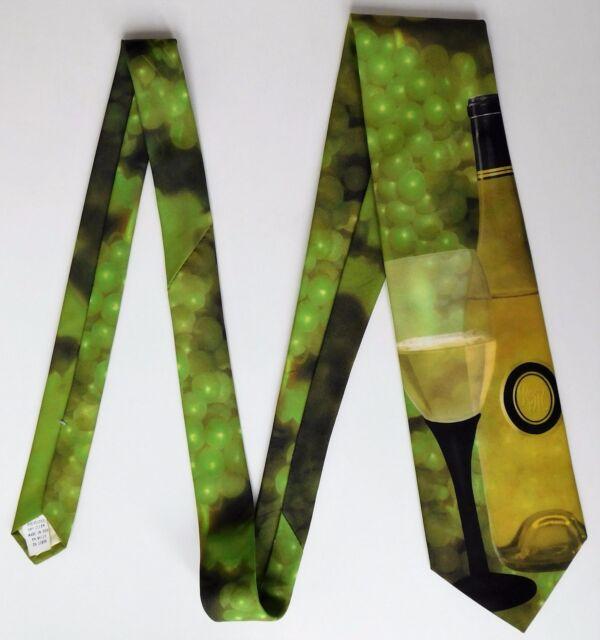 Wine Still Life tie Ralph Marlin novelty grapes fruit drink bottle vintage 1990s