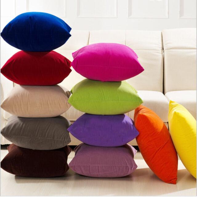 50x50cm Faux Suede Pure Couleur Pillowcase Housse de Coussin Taie d'oreiller