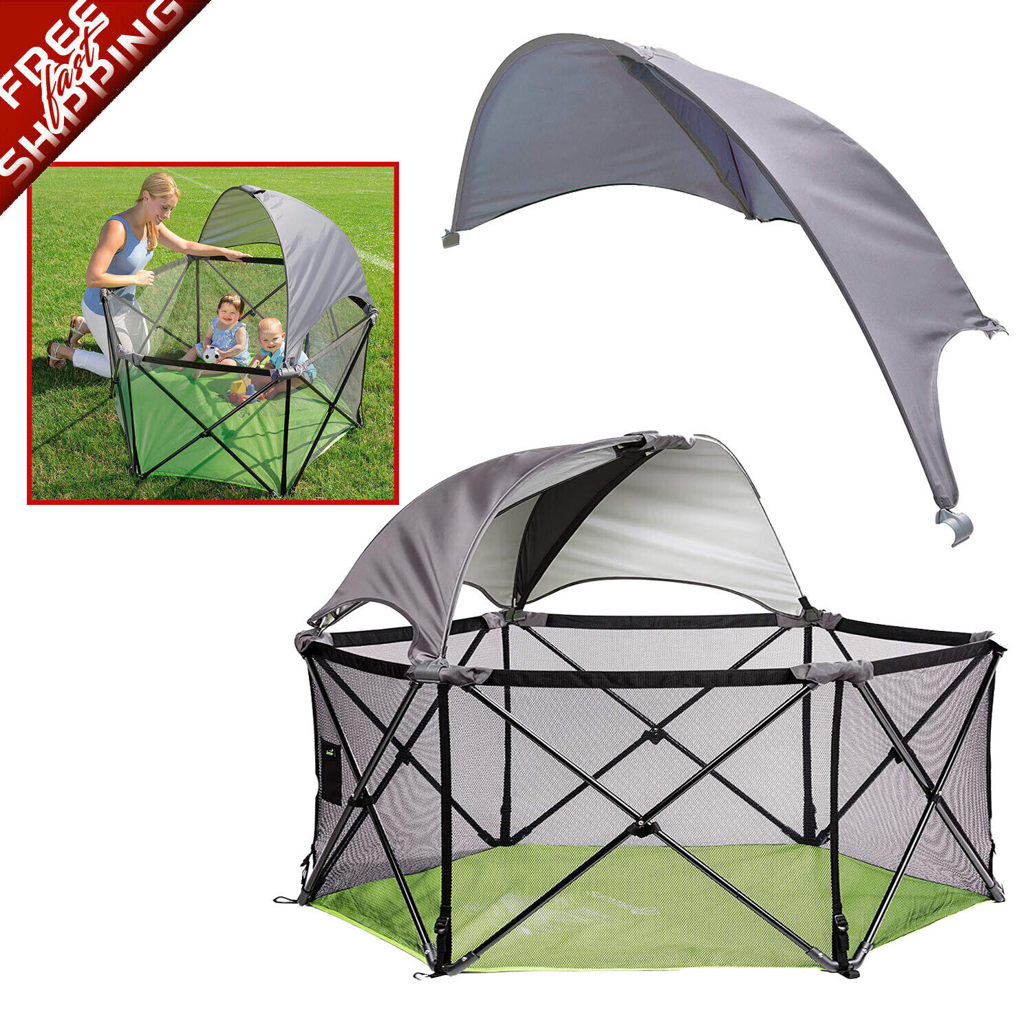 Pop N Play Summer Infant Portable Playard Canopy Baby Child Kids Outdoor Pen Sun