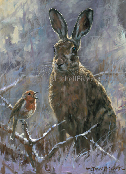 C505X Partridges in the Snow Christmas Cards pack of 10 by John Trickett