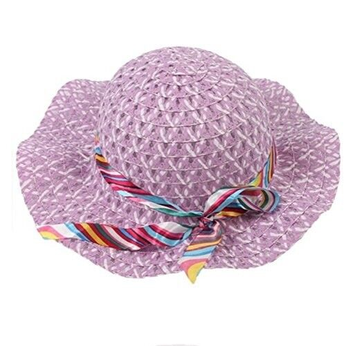 Outdoor Purple Sun Protection Beach Hat with Bow-knot For Baby Girl