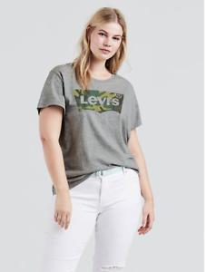 NWT-Levis-Frauen-Plus-Size-3x-Fledermaus-Logo-Camo-Grau-Kurzarm-Tee-Shirt