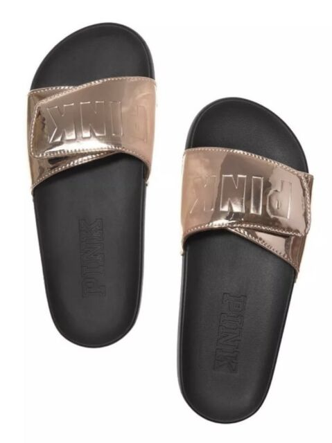 0761191b9889 Victoria s Secret Rose Gold Crossover Sandals Slides Slippers Large 9 10