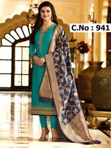 e7d65a1986 Image is loading Indian-Straight-Long-Salwar-Suit-Banarasi-Dupatta-Partywear -