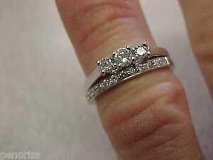 .50 ctw 2 Piece Diamond Wedding Ring set 14k White Gold size 5
