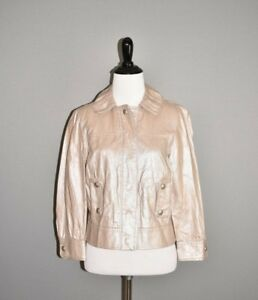 W-BY-WORTH-398-Beige-Vegan-Leather-Button-Front-Cropped-Moto-Jacket-Size-4