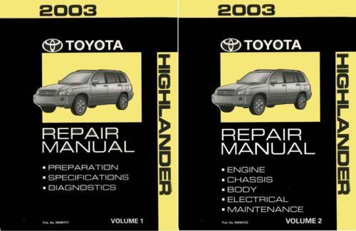 2003 Toyota Highlander Shop Service Repair Manual Book