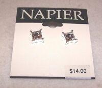 Women's Napier Silvertone With Rhinestone Post Pierced Earrings -