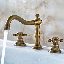 Antique Brass Bathroom Basin Faucet Bath Sink Faucet Mixer Tap Deck