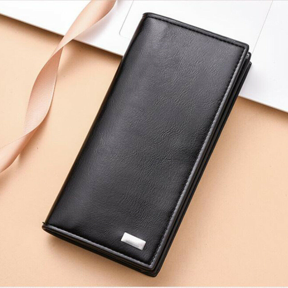 1PC Long Wallet Checkbook PU Leather Simple Fashionable Men's Wallets for Check