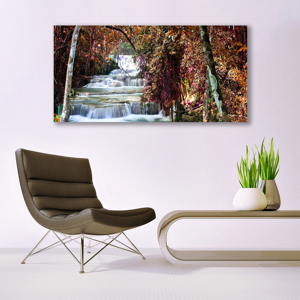 Glass print Wall art art art 140x70 Image Picture Waterfall Forest Nature 6221db