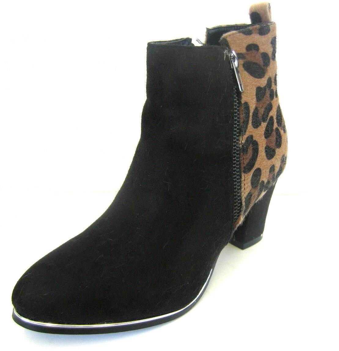 Spot on Femmes F5R0465 Noir Tan Leopard Bottines (R12B)