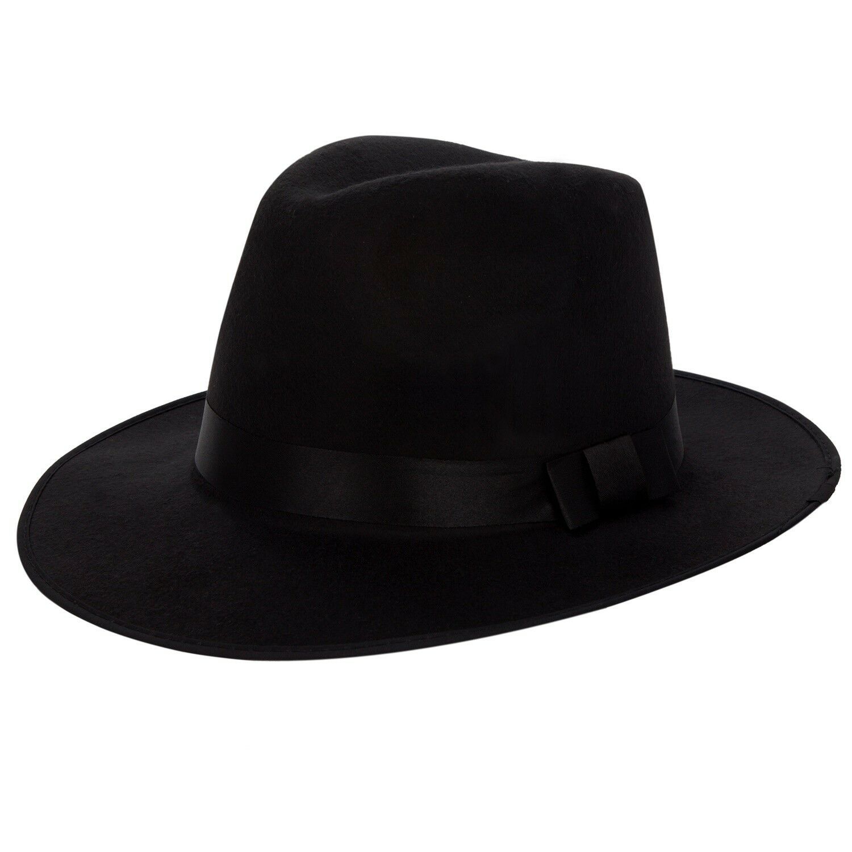Buy Black Wool Felt Vintage Women Men Floppy Panama Cap Wide Brim Fedora  Trilby Hat online  81e4ee20cb4