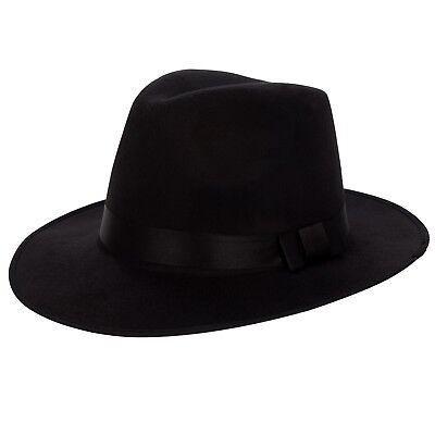 0a6496fd7463b1 Black Wool Felt Vintage Women Men Floppy Panama Cap Wide Brim Fedora Trilby  Hat