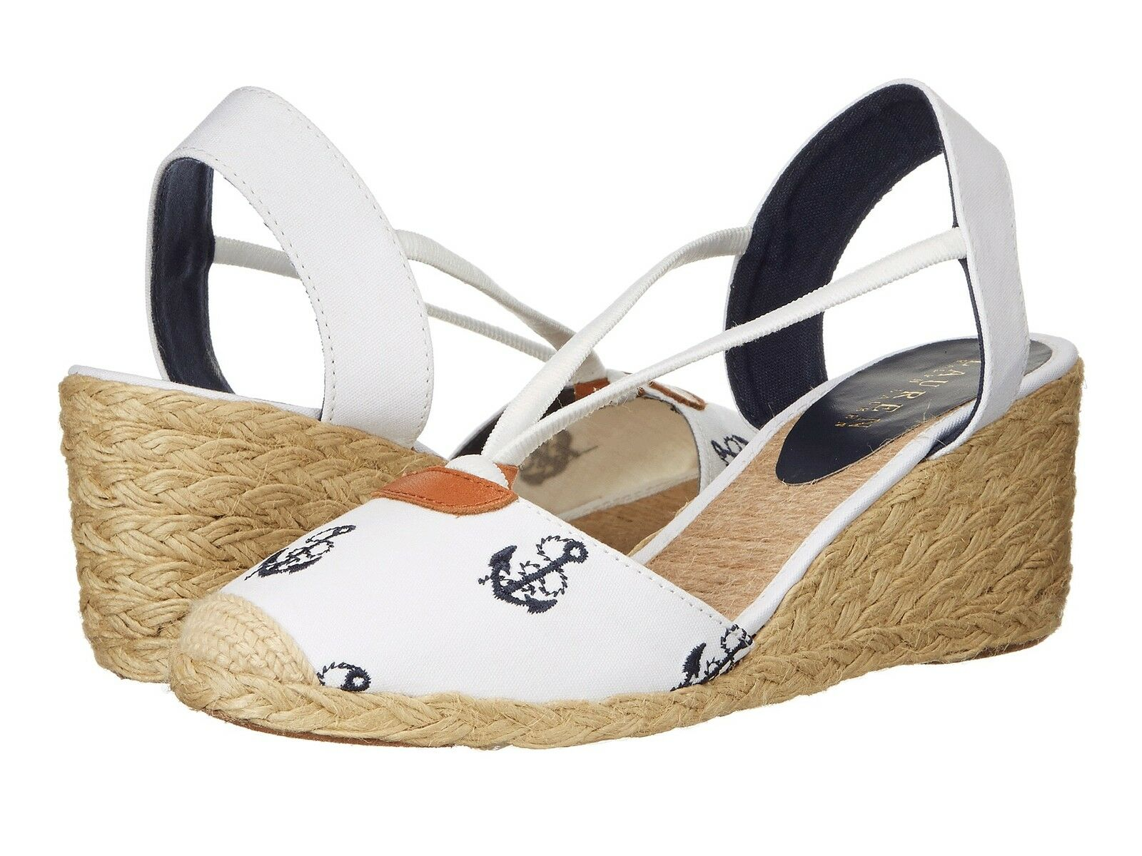 RALPH LAUREN CALA WHITE NAVY ANCHOR ESPADRILLES WEDGE SANDAL SHOES MULTISIZES
