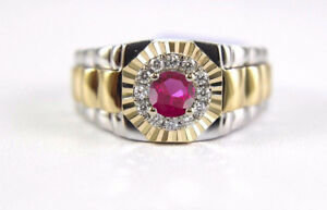 2-00-Ct-Ruby-Engagement-Men-039-s-Wedding-Band-Ring-Solid-14K-Two-Tone-Gold
