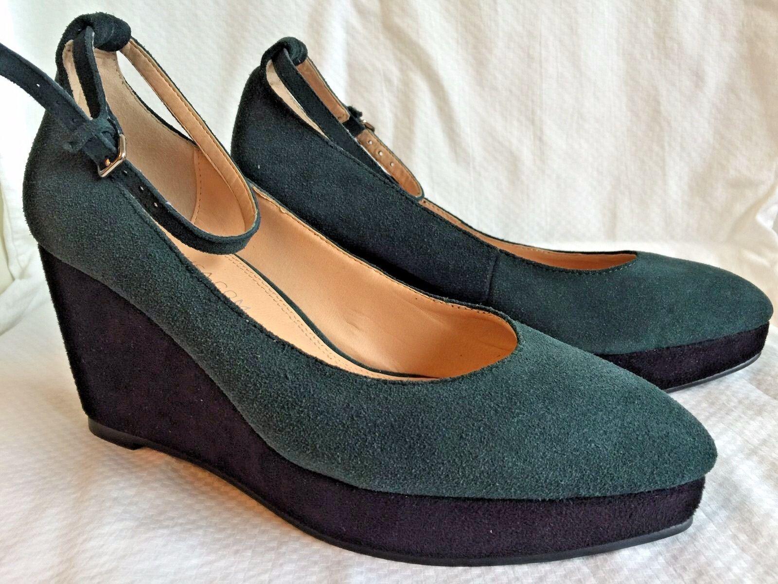 ANTHROPOLOGIE Marais USA Women's shoes 7 Green Suede Platform Wedge Ankle Strap