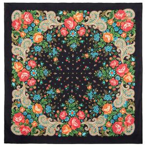 31-x-31-in-environ-78-74-cm-MAROUSSIA-en-coton-noir-Pavlovo-Posad-Chale-1751-18-Authentique-Russe
