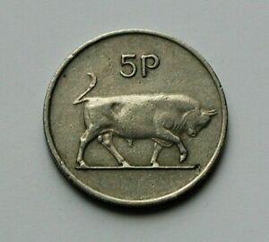 1974-IRELAND-Coin-5-Pence-5p-bull-bovine-animal-Irish-harp