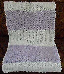 Handmade-Crochet-Baby-Blanket-Afghan-Lavender-White-Striped-Soft-New-Shower-Gift