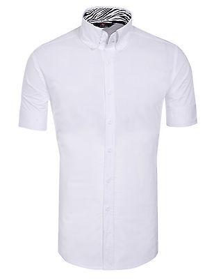 Mens Designer Shirts Short Sleeve Casual Dress Shirts Slim Fit Shirt SZ S M L XL
