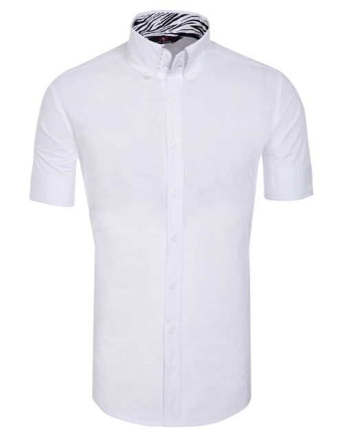 Stylish Mens Short sleeve Button Shirts Tops Casual Slim Fitted Dress Shirt New