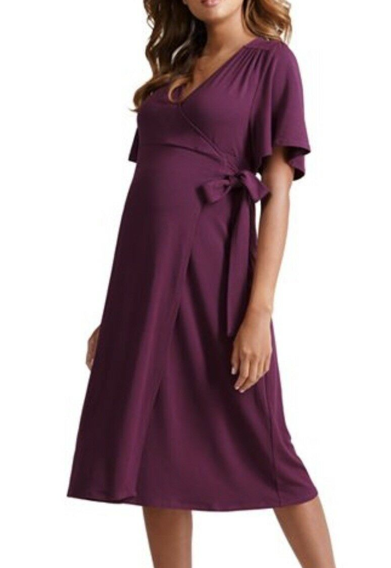 Ingrid & Isabel Maternity Flutter-Sleeve Wrap Dress Plum Medium       0664