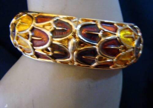 Vintage BOUCHER Enameled Hinged Bangle Bracelet