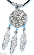DREAM CATCHER Weaver Eagle FEATHERS Pendant BLUE Bead  DREAMCATCHER Necklace