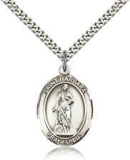 """Saint Barbara Medal For Men - .925 Sterling Silver Necklace On 24"""" Chain - 30..."""