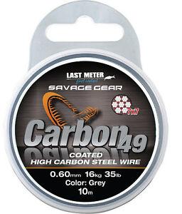 Savage-Gear-Carbon-49-10-m-bobine-7x7-Acier-vorfach-pellicules-High-Carbon-Steel-Wire