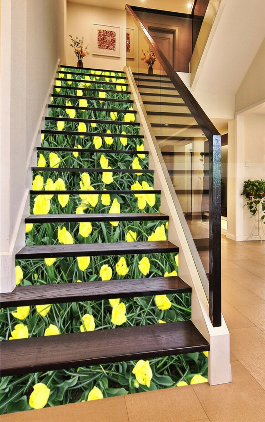 3D Gelb Tulip 18 Stairs Risers Decoration Photo Mural Vinyl Decal WandPapier US