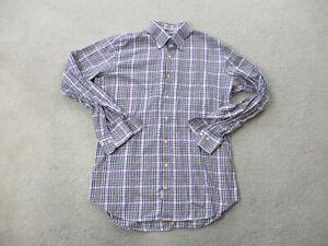 Peter-Millar-Button-Up-Shirt-Adult-Medium-Purple-White-Plaid-Long-Sleeve-Mens