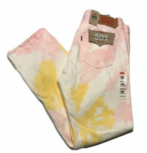 Levis-501-93-Straight-Leg-Button-Fly-Pink-Tie-Dye-Jeans-Mens-33x32-NWT
